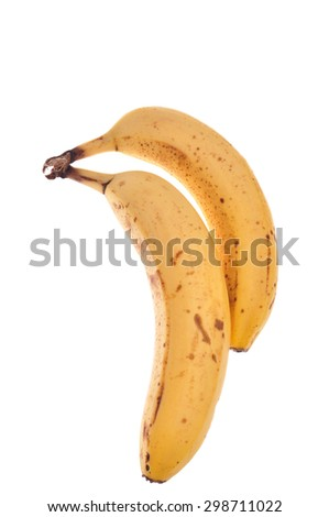 Two ripe bananas isolated on white background.  - stock photo