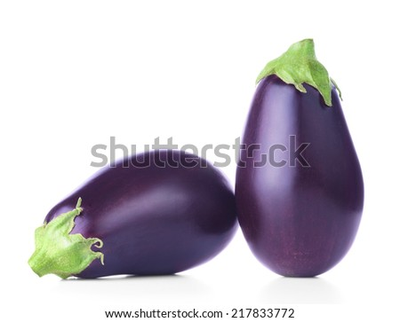Two ripe fresh aubergines isolated on white background - stock photo