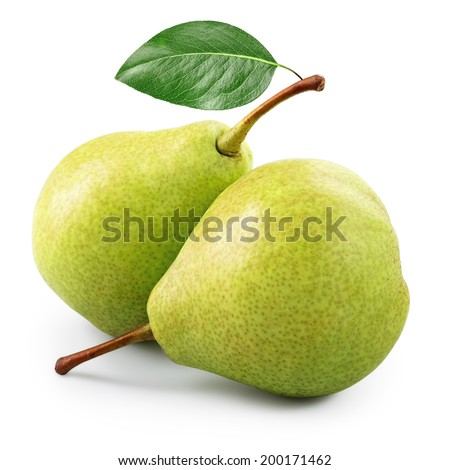 Two ripe pears isolated on white - stock photo