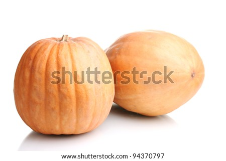 two ripe pumpkins isolated on white - stock photo
