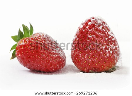 Two ripe strawberries sprinkled with powdered sugar. - stock photo