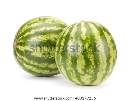 Two ripe watermelon isolated on white background