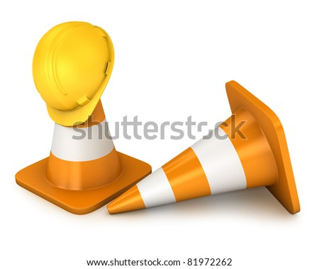 Two road cones and yellow helmet isolated on white background - stock photo