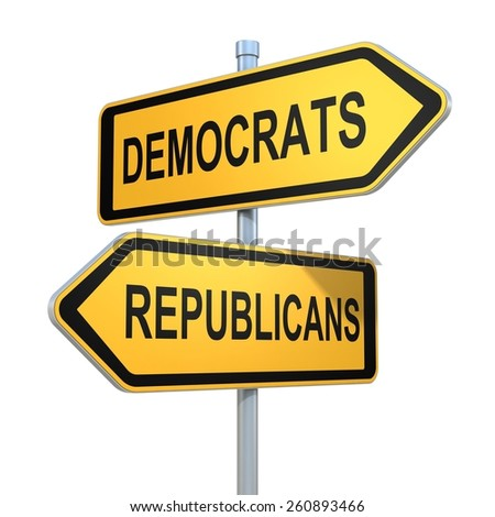 two road signs - democrats or republicans choice - stock photo