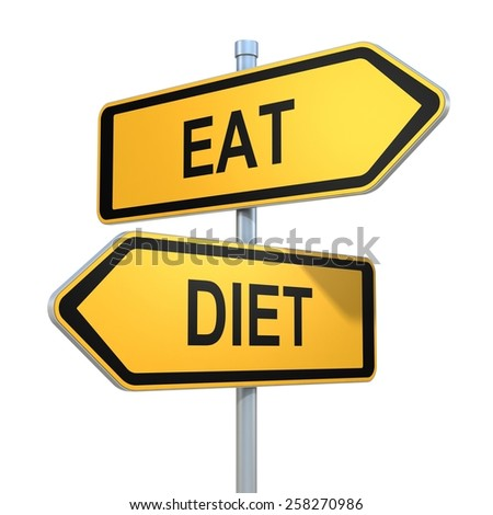 two road signs - eat diet choice - stock photo