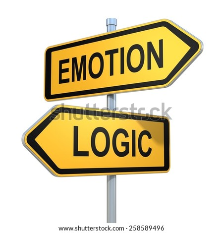 two road signs - emotion or logic choice - stock photo