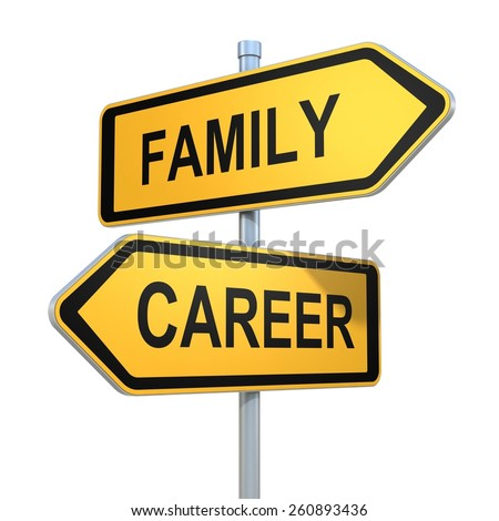 two road signs - family or career choice - stock photo