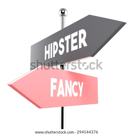 two road signs - hipster or fancy direction - stock photo