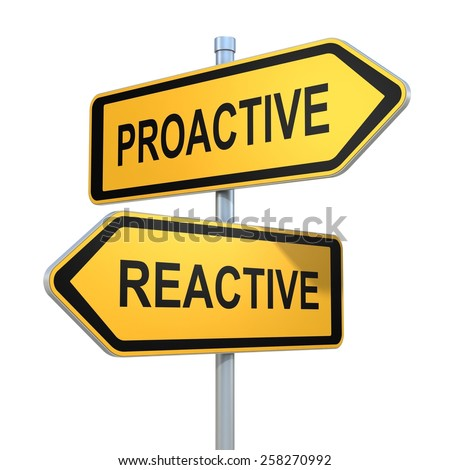 two road signs - proactive reactive choice - stock photo