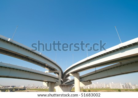 two roads into one - stock photo