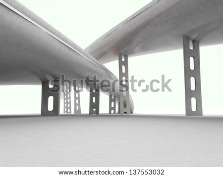 two roads supported by columns on white background illustration - stock photo