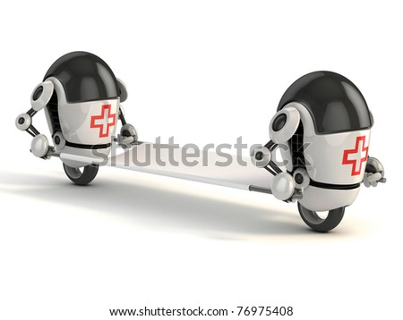 two robot medic with the stretcher - 3d rendering of the funny cartoon like robots as first aid - stock photo
