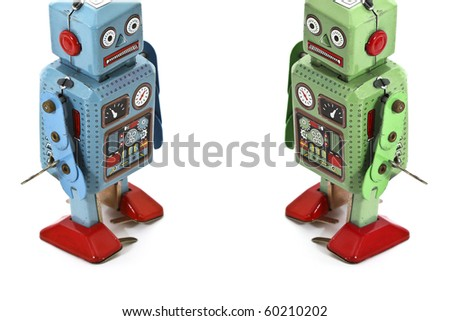 two robot toys - stock photo