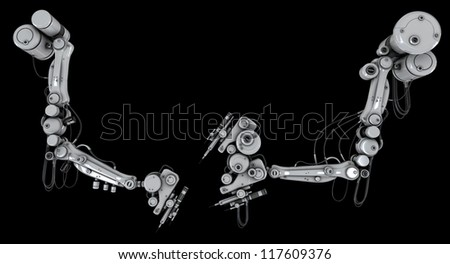 Two robotic automated worker part - stock photo