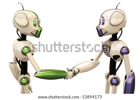 two robots shake hands. with clipping path. - stock photo