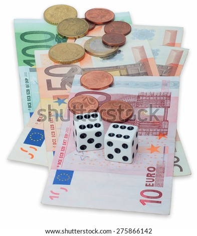 Two roll dices with an winner`s combination on European Union Currency over white. - stock photo