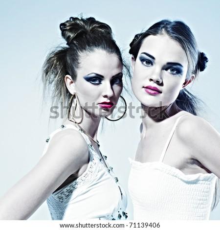 two romantic women, fashion photo - stock photo
