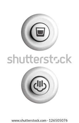 Two round buttons, coffee cup and steam, isolated on white - stock photo