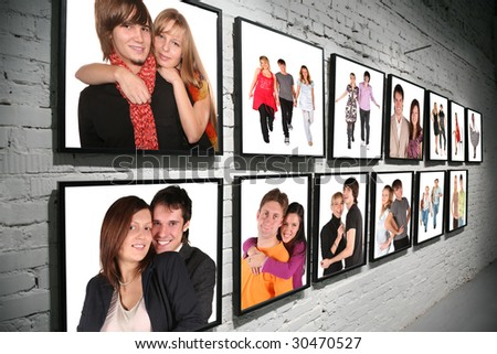 two rows frames with people on brick white wall collage - stock photo