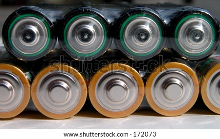 Two rows of batteries-close up