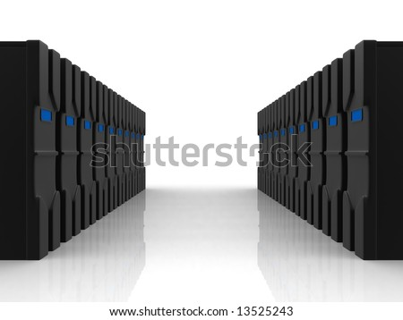 two rows of black servers