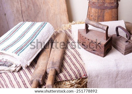 Two rusty old iron for ironing clothes - stock photo