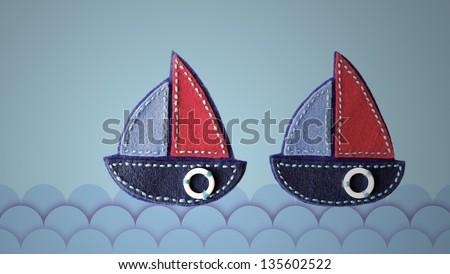 Two sailboat fabric at sea - stock photo