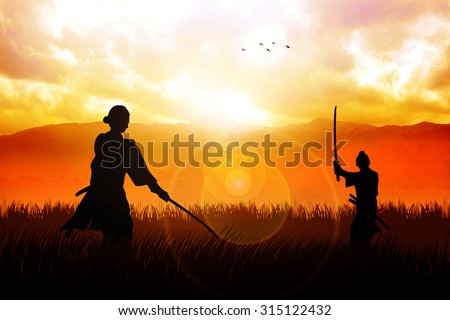 Two Samurai in duel stance facing each other on dramatic landscape - stock photo