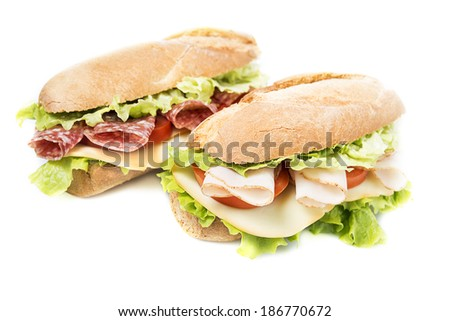 Two sandwiches on a white background - stock photo