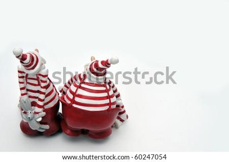 two Santa Claus - stock photo