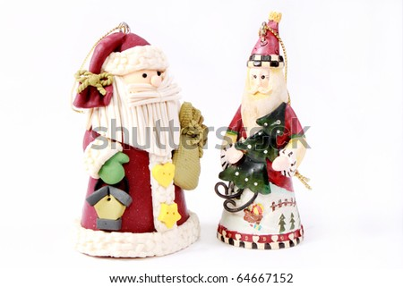 Two Santas (skinny and fat) - stock photo