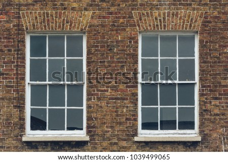 Two Sash Windows in Brick Wall, Split Toning Shallow Depth of Field Architecture Details