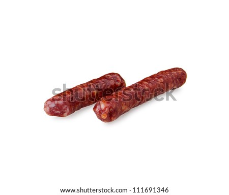 two sausage isolated on white background - stock photo