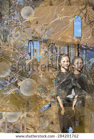 two scary women twins standing stiffly in front of an old house, with gray bubbles flying in the air and branches on the forefront