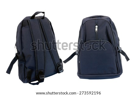 two school backpacks is isolated on white.