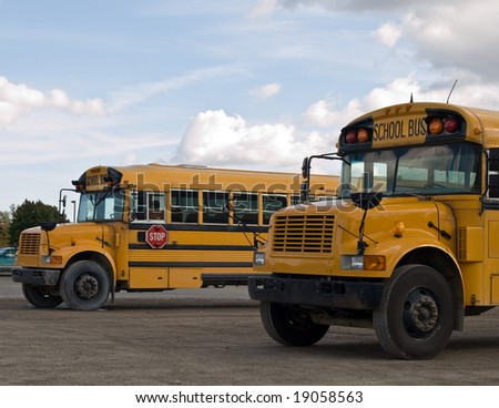 Two school bus's parked and awaiting their students