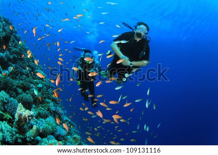 Two Scuba Divers swim through tropical fish on an ocean reef
