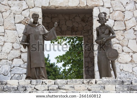 Two sculptures representing European and native American cultures built in resort town San Miguel (Cozumel, Mexico).  - stock photo