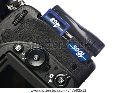 Two SD memory flash card in DSLR camera - stock photo