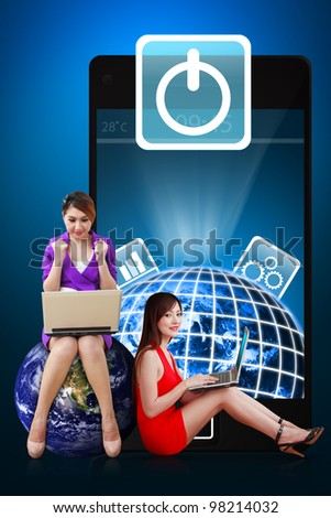 Two secretaries and Power icon from mobile phone : Elements of this image furnished by NASA