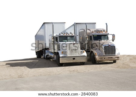 two semi trucks (semi-isolated) white background