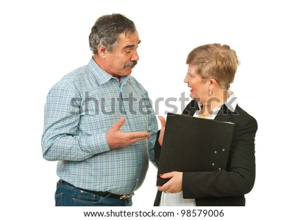 Two senior business people having serious discussion isolated on white background