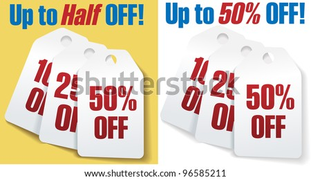Two sets of three discount price tags 10 25 and 50 percent off sale - stock photo