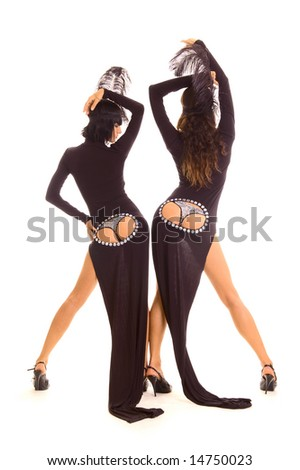 two sexy dancers posing on white background - stock photo