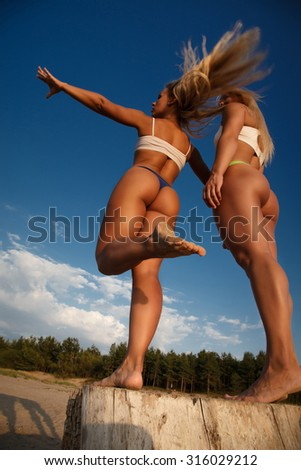 Two sexy female from back over blue sky. - stock photo