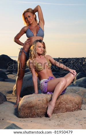 Two sexy girls posing on the beach - stock photo