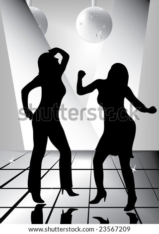 two sexy woman in disco illustration