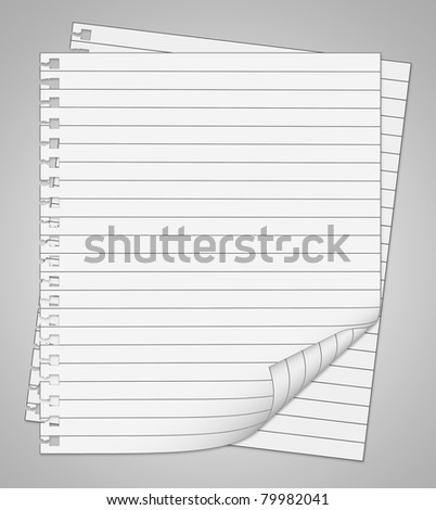 Two sheets from notebook isolated on grey