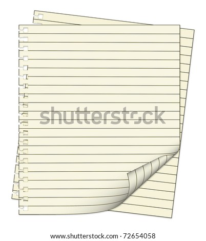 Two sheets from notebook isolated on white