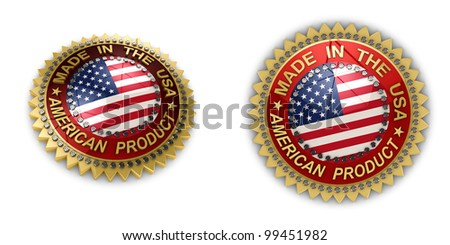 Two shiny seals with Made in the USA text on them over white background - stock photo